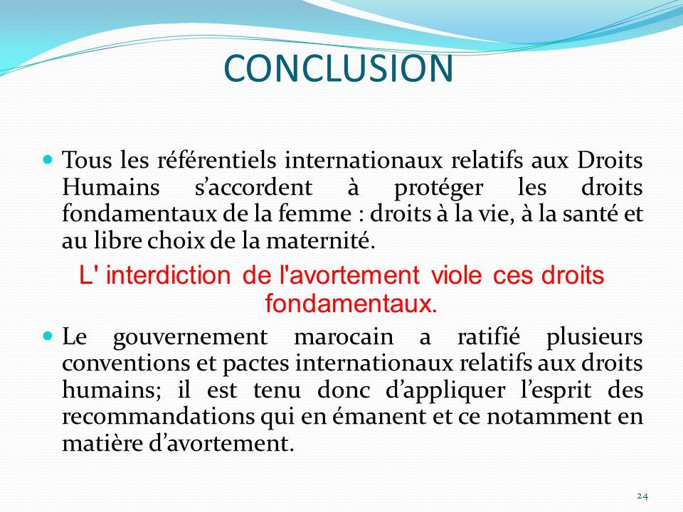 Tous les référentiels internationaux relatifs aux Droits Humains saccordent à protéger les droits fondamentaux de la femme : droits à la vie, à la san
