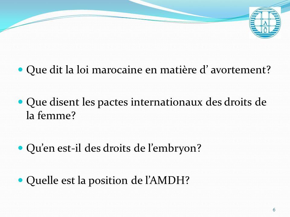 Que dit la loi marocaine en matière d avortement? Que disent les pactes internationaux des droits de la femme? Quen est-il des droits de lembryon? Que
