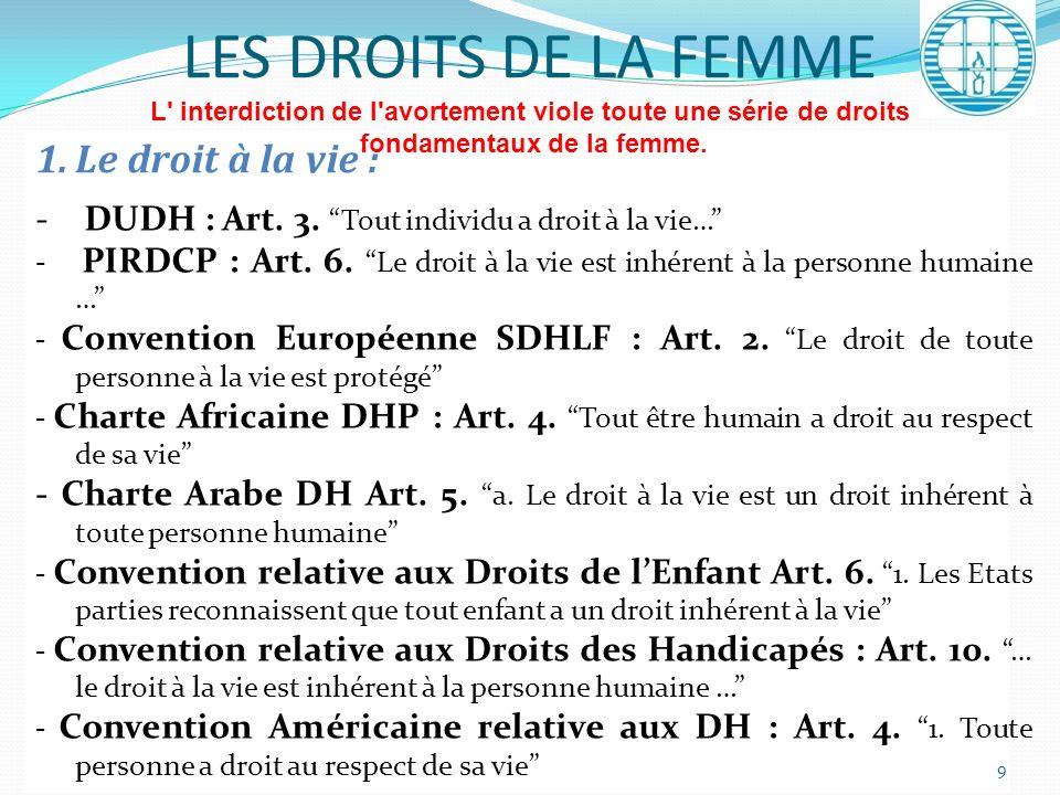 1.Le droit à la vie : - DUDH : Art. 3. Tout individu a droit à la vie… - PIRDCP : Art. 6. Le droit à la vie est inhérent à la personne humaine … - Con