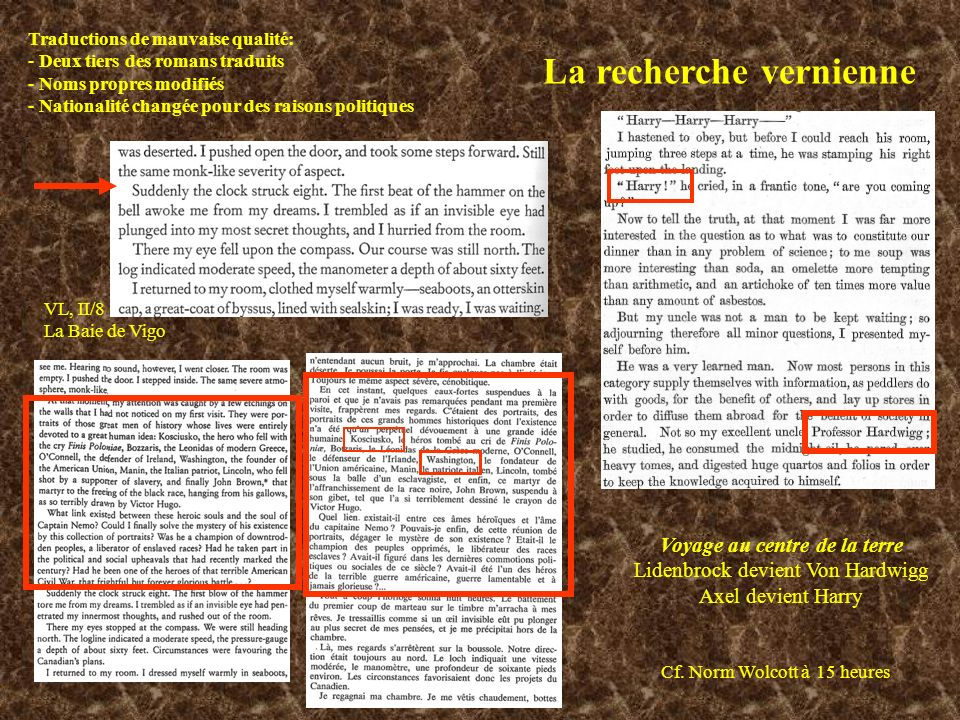La recherche vernienne Traductions de mauvaise qualité: - Deux tiers des romans traduits - Noms propres modifiés - Nationalité changée pour des raisons politiques Voyage au centre de la terre Lidenbrock devient Von Hardwigg Axel devient Harry Cf.