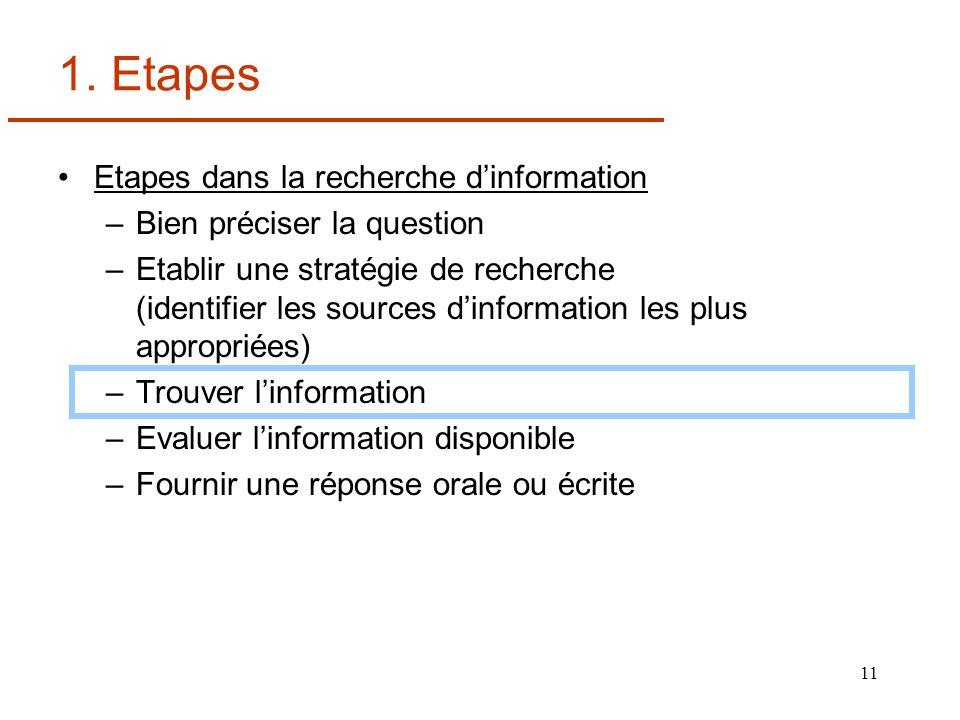 11 1. Etapes Etapes dans la recherche dinformation –Bien préciser la question –Etablir une stratégie de recherche (identifier les sources dinformation