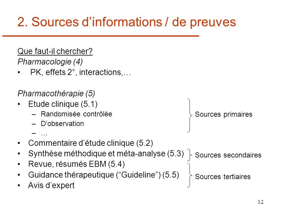 12 2. Sources dinformations / de preuves Que faut-il chercher? Pharmacologie (4) PK, effets 2°, interactions,… Pharmacothérapie (5) Etude clinique (5.