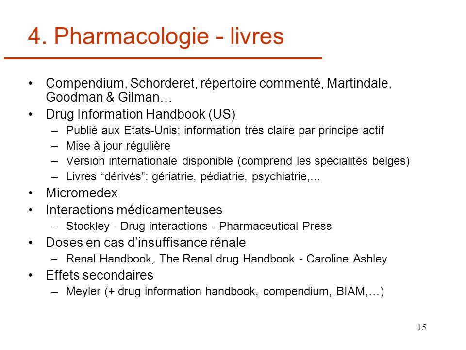 15 4. Pharmacologie - livres Compendium, Schorderet, répertoire commenté, Martindale, Goodman & Gilman… Drug Information Handbook (US) –Publié aux Eta