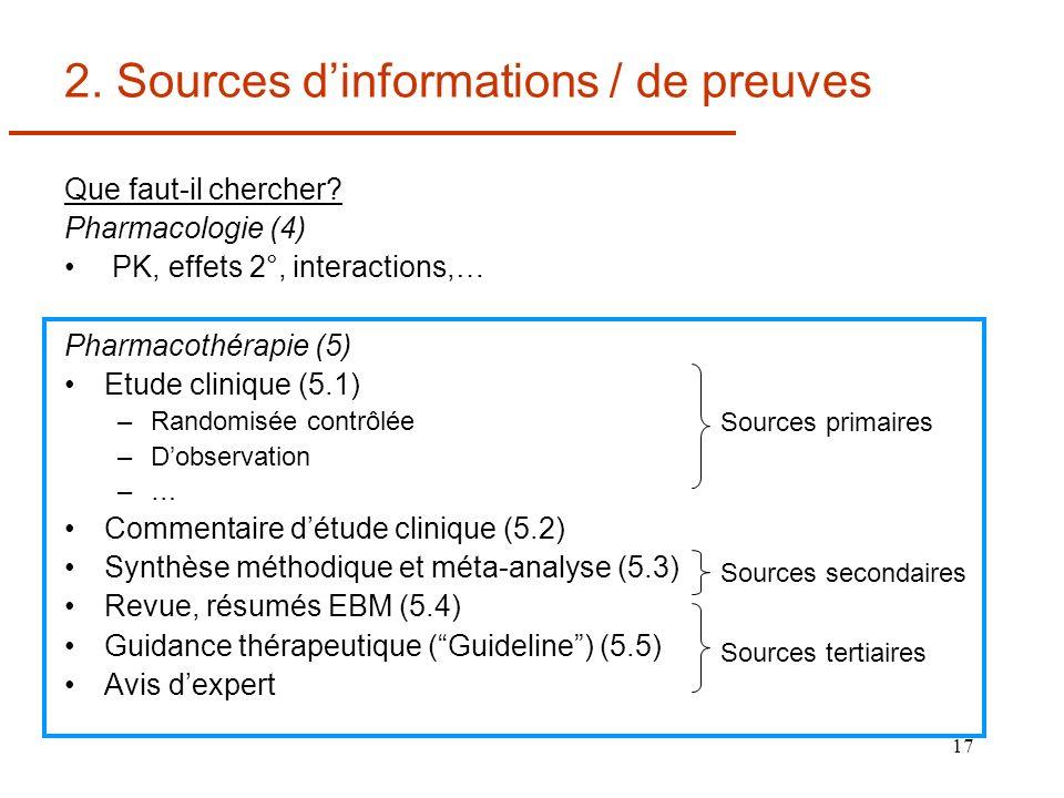 17 2. Sources dinformations / de preuves Que faut-il chercher? Pharmacologie (4) PK, effets 2°, interactions,… Pharmacothérapie (5) Etude clinique (5.