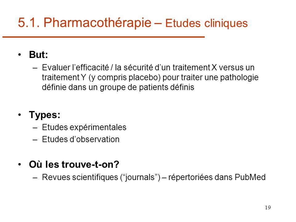 19 5.1. Pharmacothérapie – Etudes cliniques But: –Evaluer lefficacité / la sécurité dun traitement X versus un traitement Y (y compris placebo) pour t
