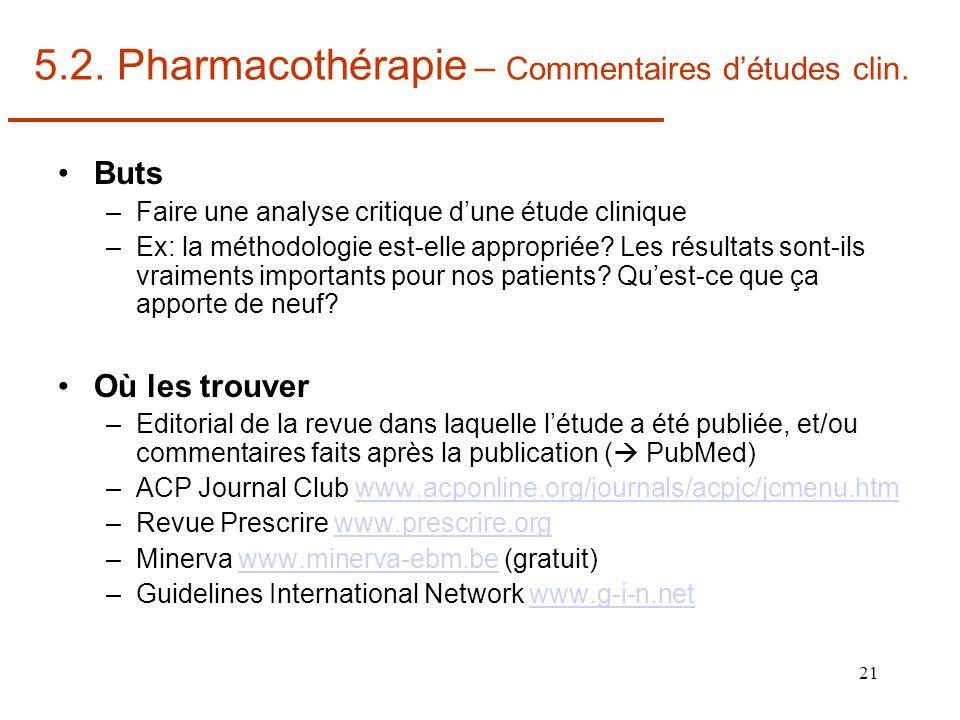 21 5.2. Pharmacothérapie – Commentaires détudes clin. Buts –Faire une analyse critique dune étude clinique –Ex: la méthodologie est-elle appropriée? L