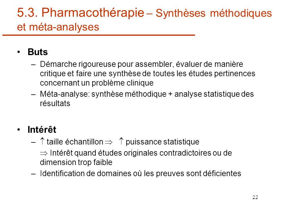 22 5.3. Pharmacothérapie – Synthèses méthodiques et méta-analyses Buts –Démarche rigoureuse pour assembler, évaluer de manière critique et faire une s