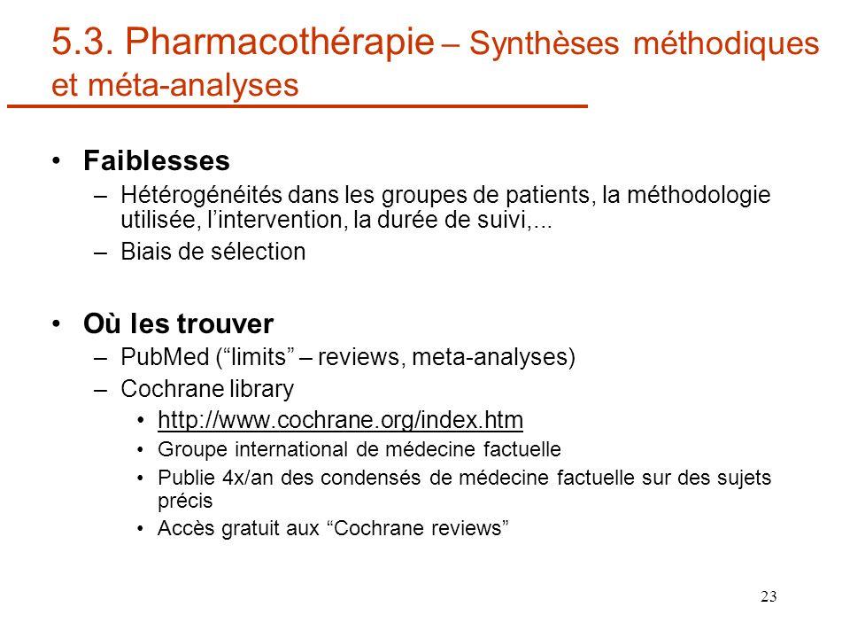 23 5.3. Pharmacothérapie – Synthèses méthodiques et méta-analyses Faiblesses –Hétérogénéités dans les groupes de patients, la méthodologie utilisée, l