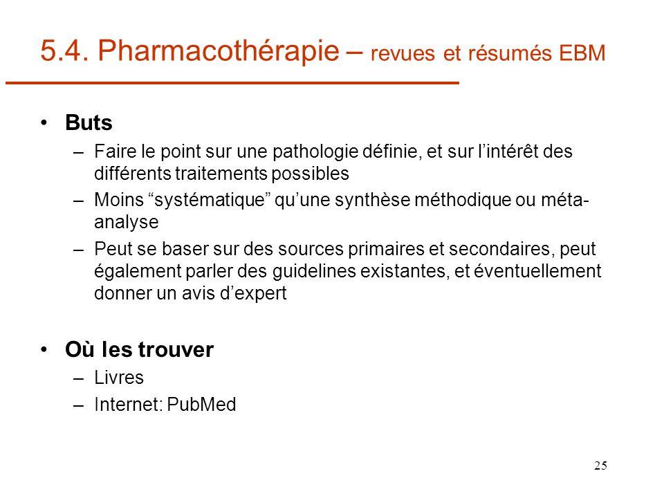 25 5.4. Pharmacothérapie – revues et résumés EBM Buts –Faire le point sur une pathologie définie, et sur lintérêt des différents traitements possibles