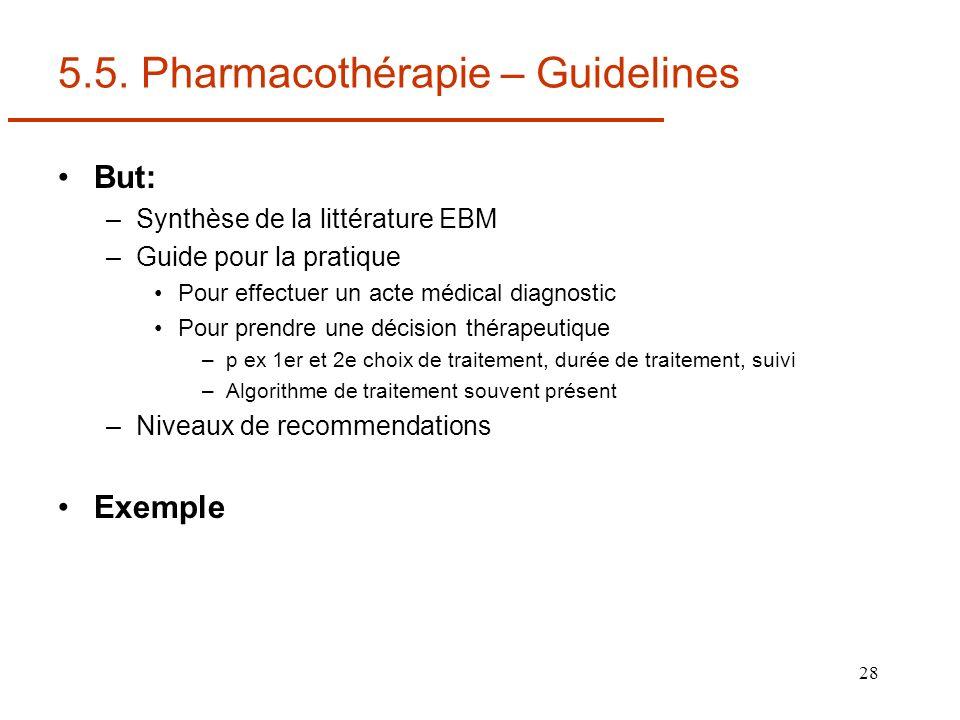 28 5.5. Pharmacothérapie – Guidelines But: –Synthèse de la littérature EBM –Guide pour la pratique Pour effectuer un acte médical diagnostic Pour pren