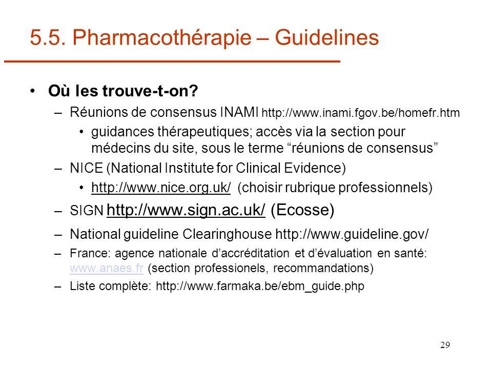 29 5.5. Pharmacothérapie – Guidelines Où les trouve-t-on? –Réunions de consensus INAMI http://www.inami.fgov.be/homefr.htm guidances thérapeutiques; a