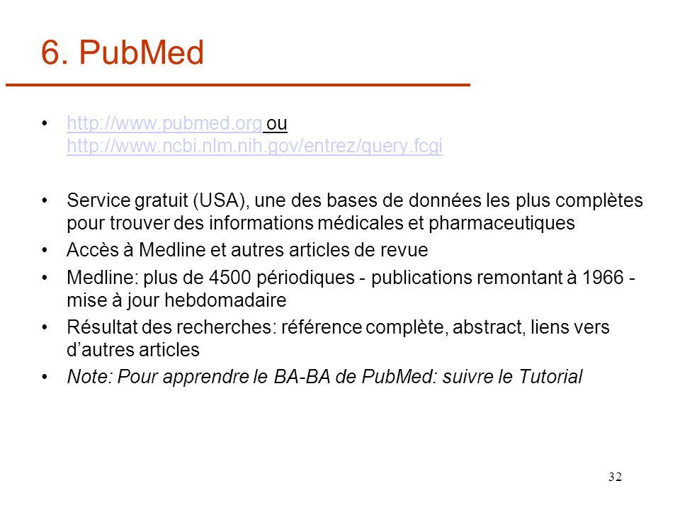 32 6. PubMed http://www.pubmed.org ou http://www.ncbi.nlm.nih.gov/entrez/query.fcgihttp://www.pubmed.org http://www.ncbi.nlm.nih.gov/entrez/query.fcgi
