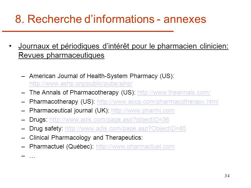 34 8. Recherche dinformations - annexes Journaux et périodiques dintérêt pour le pharmacien clinicien: Revues pharmaceutiques –American Journal of Hea