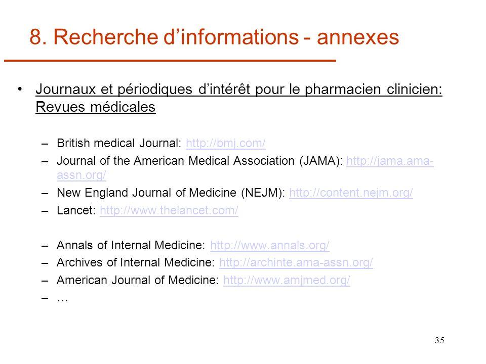 35 8. Recherche dinformations - annexes Journaux et périodiques dintérêt pour le pharmacien clinicien: Revues médicales –British medical Journal: http