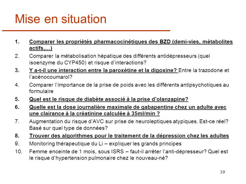 39 Mise en situation 1.Comparer les propriétés pharmacocinétiques des BZD (demi-vies, métabolites actifs,…) 2.Comparer la métabolisation hépatique des