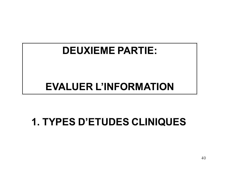 40 DEUXIEME PARTIE: EVALUER LINFORMATION 1. TYPES DETUDES CLINIQUES