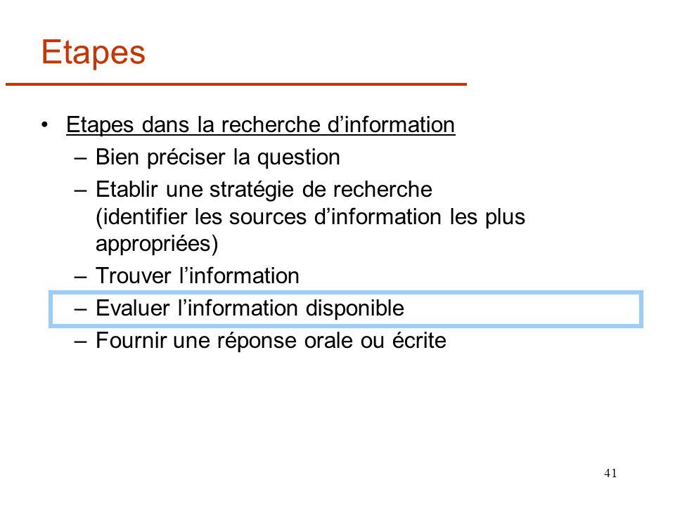 41 Etapes Etapes dans la recherche dinformation –Bien préciser la question –Etablir une stratégie de recherche (identifier les sources dinformation le