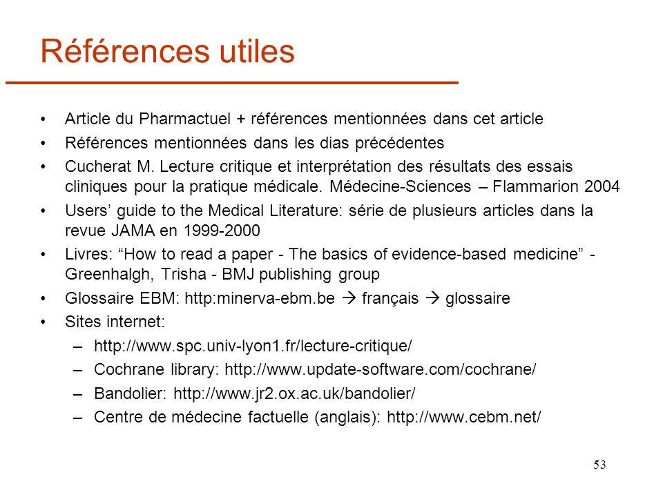 53 Références utiles Article du Pharmactuel + références mentionnées dans cet article Références mentionnées dans les dias précédentes Cucherat M. Lec