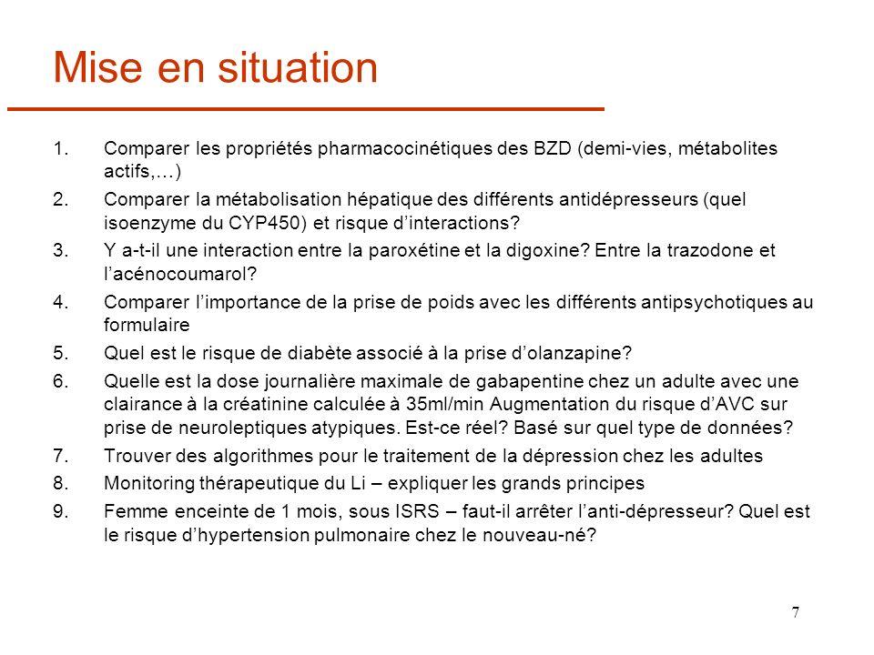 7 Mise en situation 1.Comparer les propriétés pharmacocinétiques des BZD (demi-vies, métabolites actifs,…) 2.Comparer la métabolisation hépatique des
