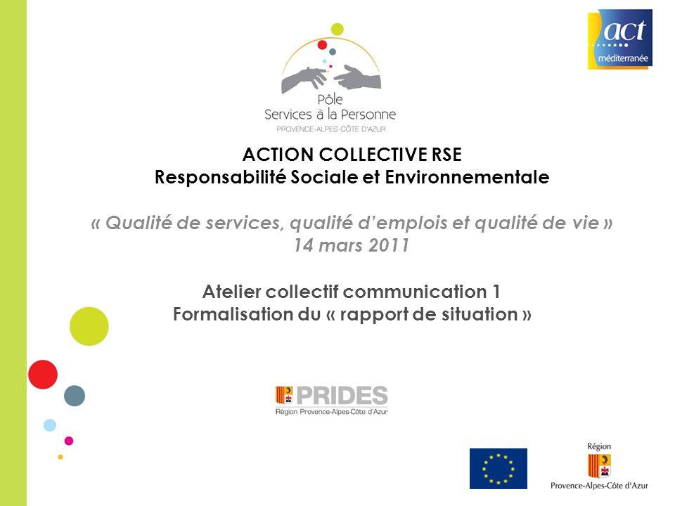 ACTION COLLECTIVE RSE Responsabilité Sociale et Environnementale « Qualité de services, qualité demplois et qualité de vie » 14 mars 2011 Atelier coll