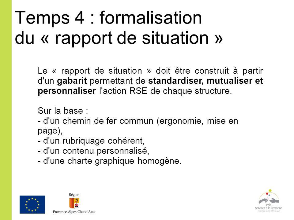 Temps 4 : formalisation du « rapport de situation » Le « rapport de situation » doit être construit à partir d'un gabarit permettant de standardiser,