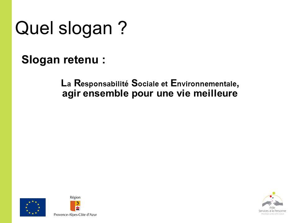 Quel slogan ? Slogan retenu : L a R esponsabilité S ociale et E nvironnementale, agir ensemble pour une vie meilleure