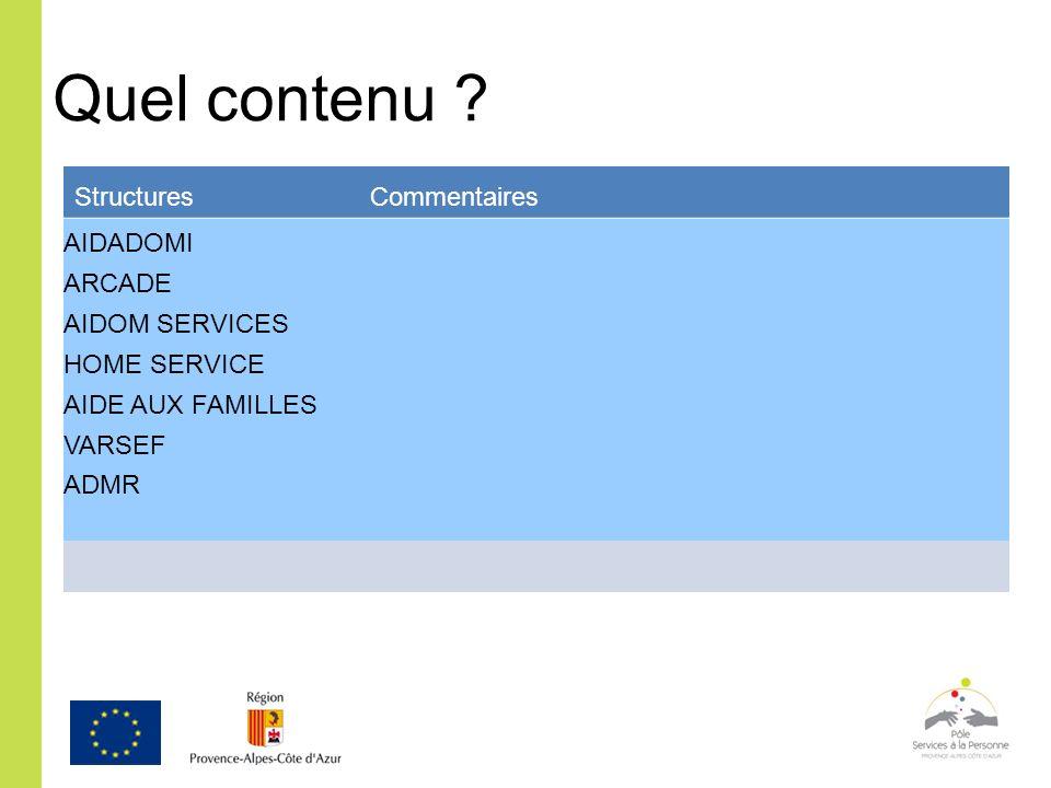 Quel contenu ? Structures Commentaires AIDADOMI ARCADE AIDOM SERVICES HOME SERVICE AIDE AUX FAMILLES VARSEF ADMR