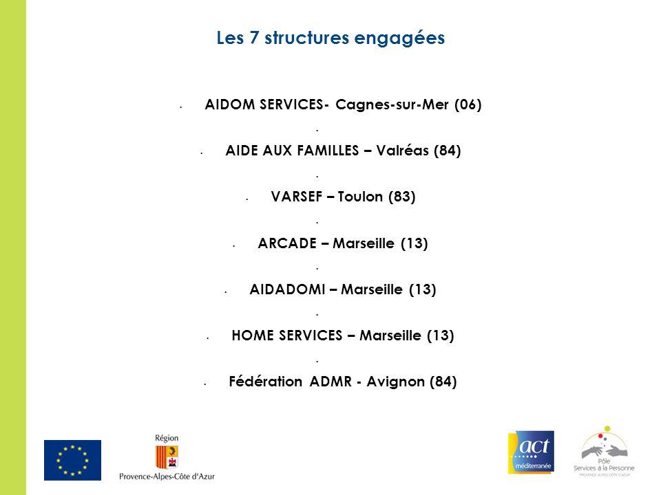 Les 7 structures engagées AIDOM SERVICES- Cagnes-sur-Mer (06) AIDE AUX FAMILLES – Valréas (84) VARSEF – Toulon (83) ARCADE – Marseille (13) AIDADOMI –