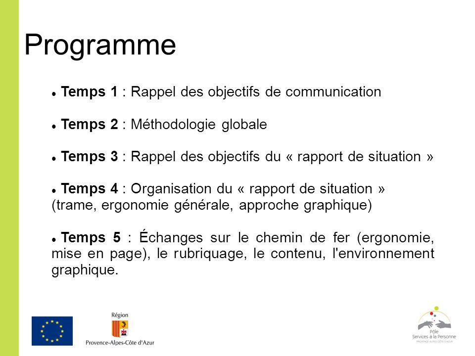 Programme Temps 1 : Rappel des objectifs de communication Temps 2 : Méthodologie globale Temps 3 : Rappel des objectifs du « rapport de situation » Te