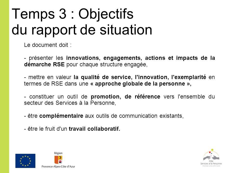 Temps 3 : Objectifs du rapport de situation Le document doit : - présenter les innovations, engagements, actions et impacts de la démarche RSE pour ch