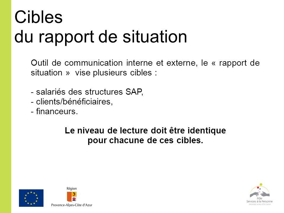 Cibles du rapport de situation Outil de communication interne et externe, le « rapport de situation » vise plusieurs cibles : - salariés des structure