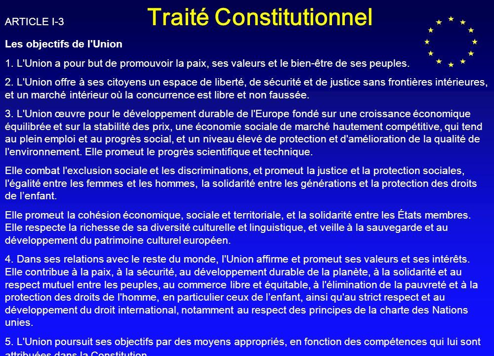 ARTICLE I-3 Traité Constitutionnel Les objectifs de l Union 1.