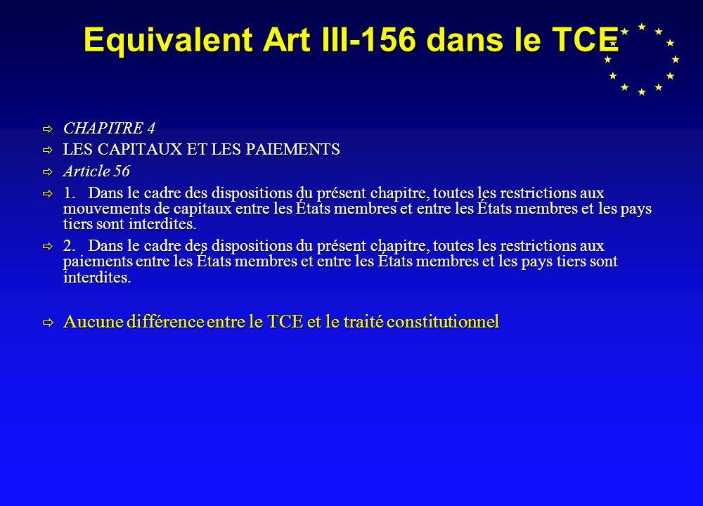 Equivalent Art III-156 dans le TCE CHAPITRE 4 CHAPITRE 4 LES CAPITAUX ET LES PAIEMENTS LES CAPITAUX ET LES PAIEMENTS Article 56 Article 56 1.