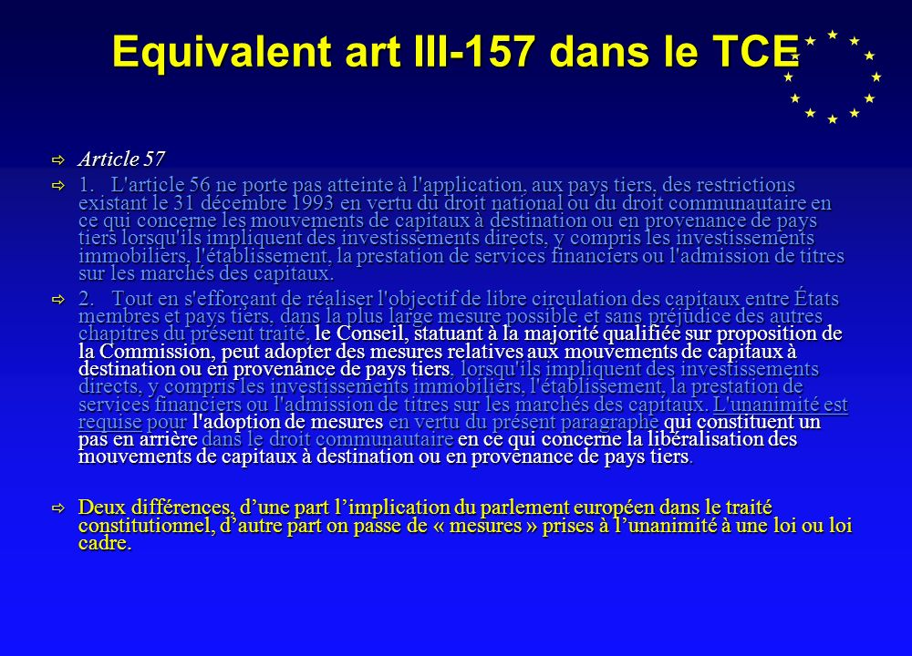 Equivalent art III-157 dans le TCE Article 57 Article 57 1.