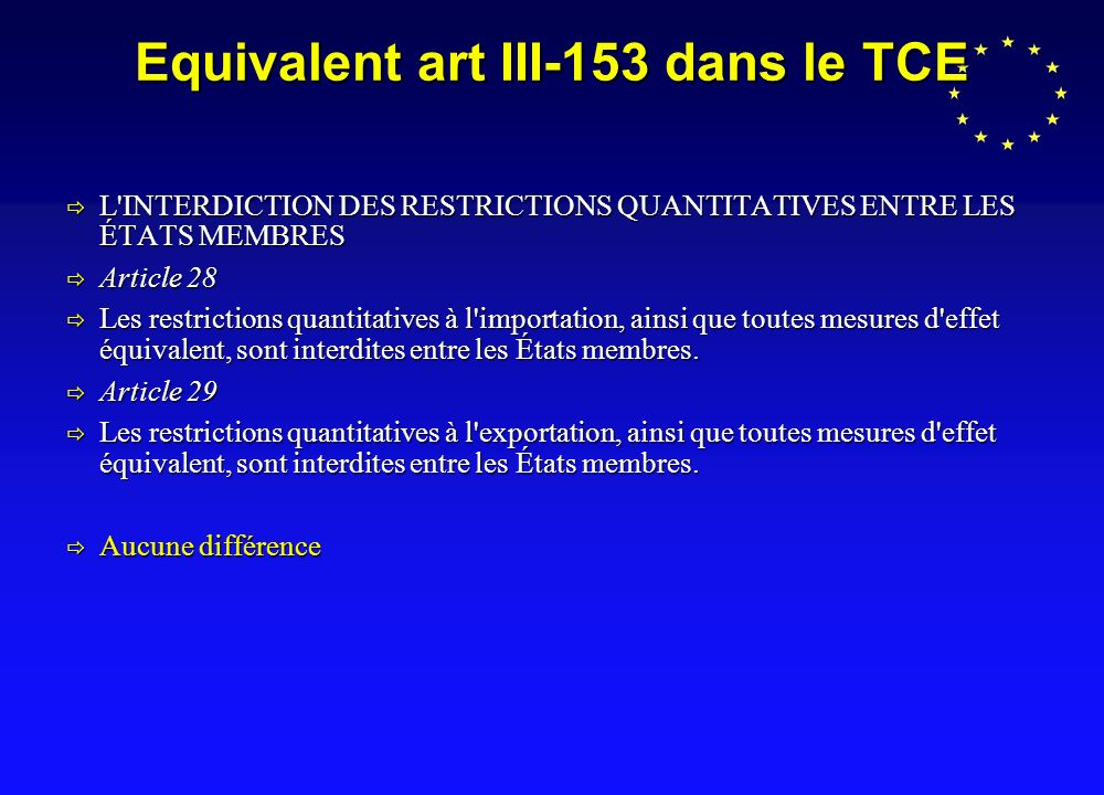 Equivalent art III-153 dans le TCE L'INTERDICTION DES RESTRICTIONS QUANTITATIVES ENTRE LES ÉTATS MEMBRES L'INTERDICTION DES RESTRICTIONS QUANTITATIVES