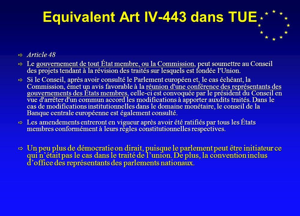 Equivalent Art IV-443 dans TUE Article 48 Article 48 Le gouvernement de tout État membre, ou la Commission, peut soumettre au Conseil des projets tendant à la révision des traités sur lesquels est fondée l Union.