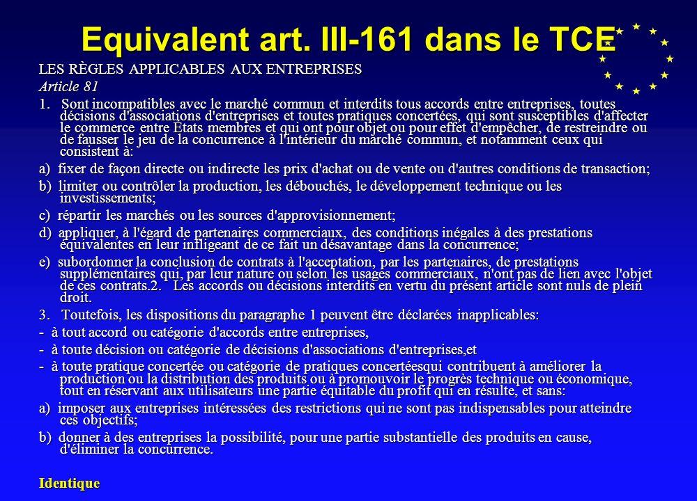 Equivalent art.III-161 dans le TCE LES RÈGLES APPLICABLES AUX ENTREPRISES Article 81 1.