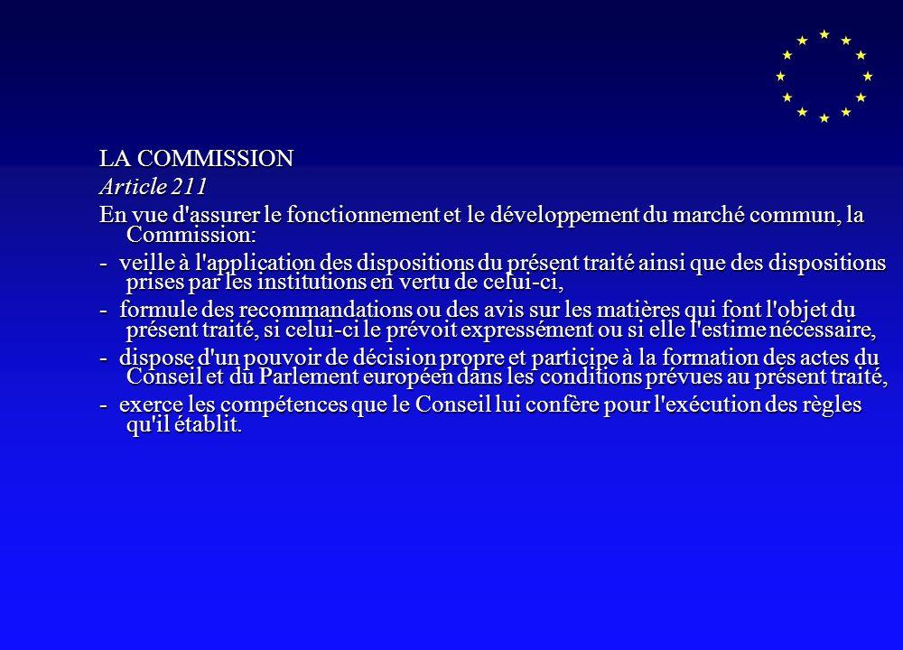 LA COMMISSION Article 211 En vue d assurer le fonctionnement et le développement du marché commun, la Commission: - veille à l application des dispositions du présent traité ainsi que des dispositions prises par les institutions en vertu de celui-ci, - formule des recommandations ou des avis sur les matières qui font l objet du présent traité, si celui-ci le prévoit expressément ou si elle l estime nécessaire, - dispose d un pouvoir de décision propre et participe à la formation des actes du Conseil et du Parlement européen dans les conditions prévues au présent traité, - exerce les compétences que le Conseil lui confère pour l exécution des règles qu il établit.