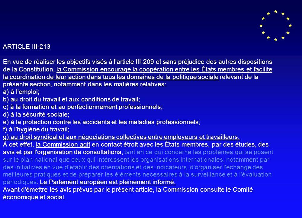 ARTICLE III-213 En vue de réaliser les objectifs visés à l article III-209 et sans préjudice des autres dispositions de la Constitution, la Commission encourage la coopération entre les États membres et facilite la coordination de leur action dans tous les domaines de la politique sociale relevant de la présente section, notamment dans les matières relatives: a) à l emploi; b) au droit du travail et aux conditions de travail; c) à la formation et au perfectionnement professionnels; d) à la sécurité sociale; e) à la protection contre les accidents et les maladies professionnels; f) à l hygiène du travail; g) au droit syndical et aux négociations collectives entre employeurs et travailleurs.
