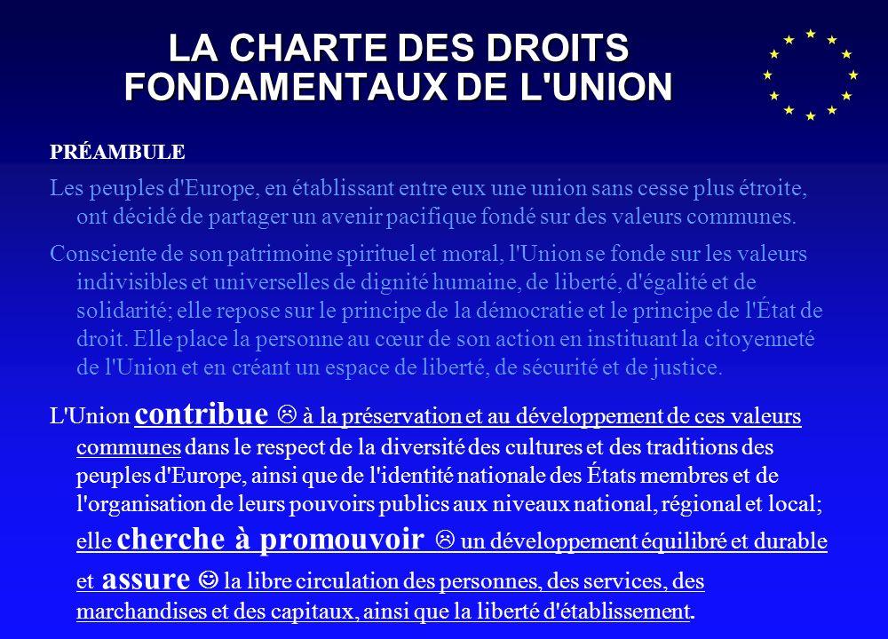 LA CHARTE DES DROITS FONDAMENTAUX DE L UNION PRÉAMBULE Les peuples d Europe, en établissant entre eux une union sans cesse plus étroite, ont décidé de partager un avenir pacifique fondé sur des valeurs communes.