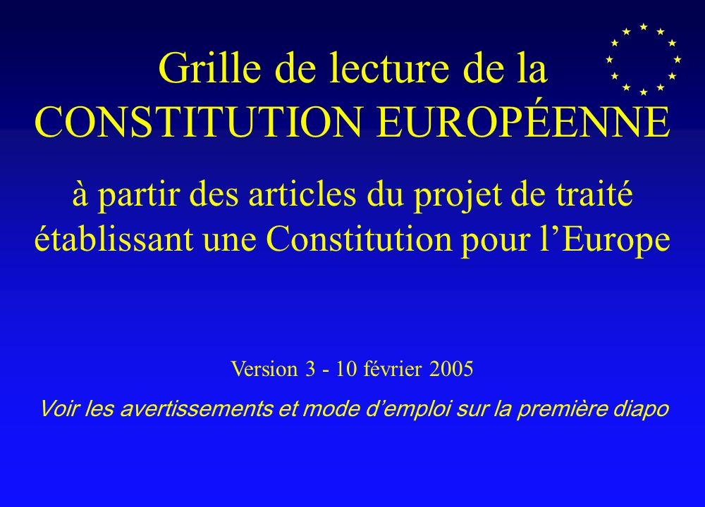 Grille de lecture de la CONSTITUTION EUROPÉENNE à partir des articles du projet de traité établissant une Constitution pour lEurope Version 3 - 10 février 2005 Voir les avertissements et mode demploi sur la première diapo