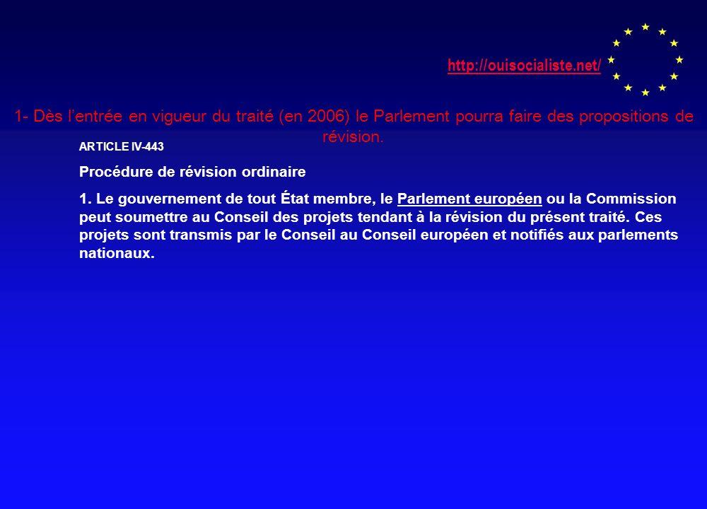 http://ouisocialiste.net/ 1- Dès lentrée en vigueur du traité (en 2006) le Parlement pourra faire des propositions de révision.