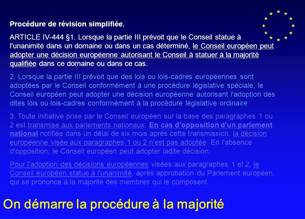 Procédure de révision simplifiée.ARTICLE IV-444 §1.
