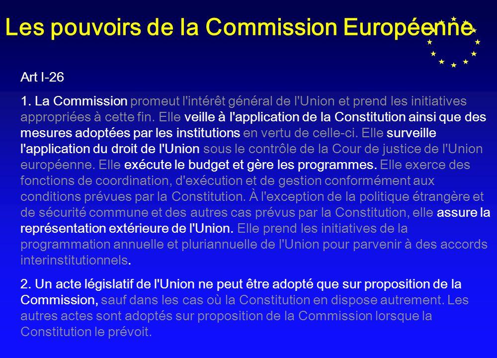 Les pouvoirs de la Commission Européenne Art I-26 1.