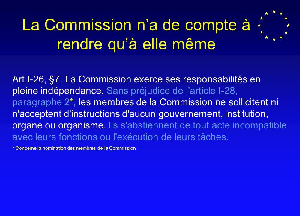 Art I-26, §7.La Commission exerce ses responsabilités en pleine indépendance.