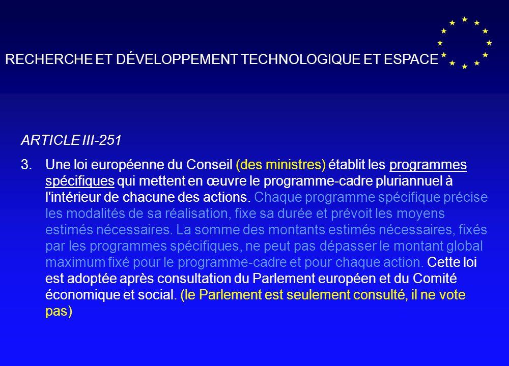 RECHERCHE ET DÉVELOPPEMENT TECHNOLOGIQUE ET ESPACE ARTICLE III-251 3.