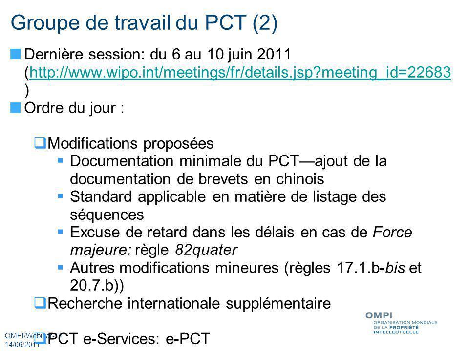 OMPI/Webinar-11 14/06/2011 Groupe de travail du PCT (2) Dernière session: du 6 au 10 juin 2011 (http://www.wipo.int/meetings/fr/details.jsp?meeting_id