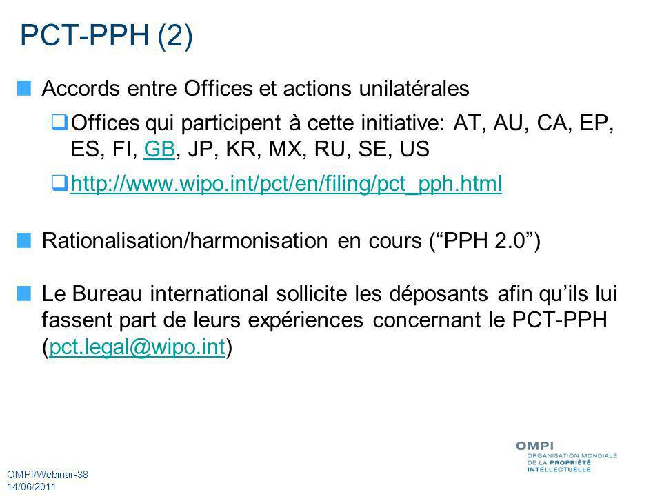 OMPI/Webinar-38 14/06/2011 PCT-PPH (2) Accords entre Offices et actions unilatérales Offices qui participent à cette initiative: AT, AU, CA, EP, ES, F