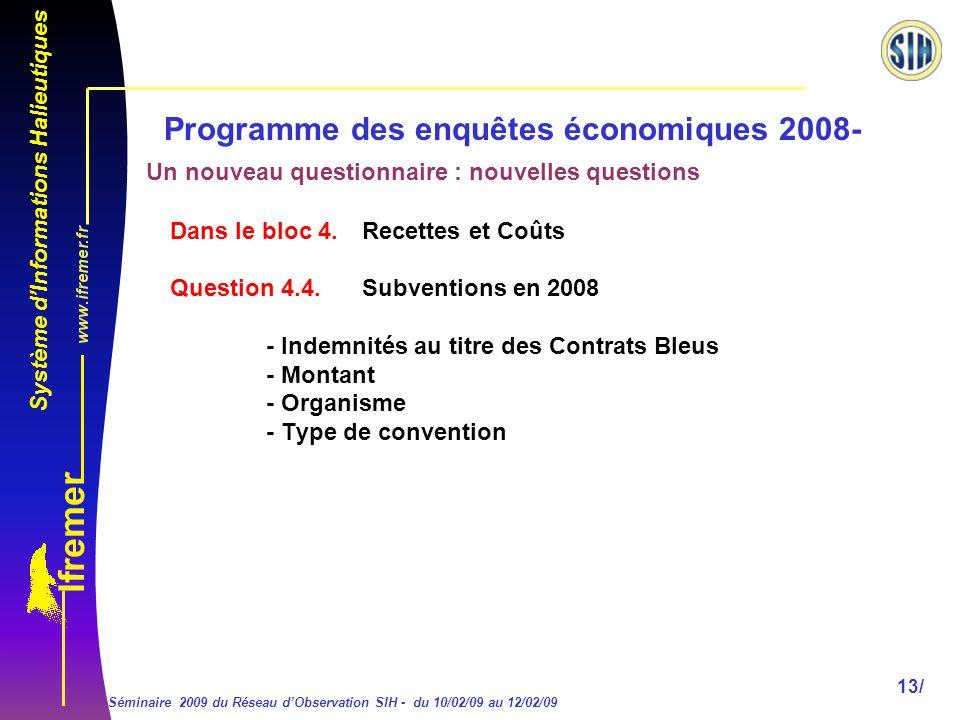 Système dInformations Halieutiques Séminaire 2009 du Réseau dObservation SIH - du 10/02/09 au 12/02/09 13/ Programme des enquêtes économiques 2008- Dans le bloc 4.