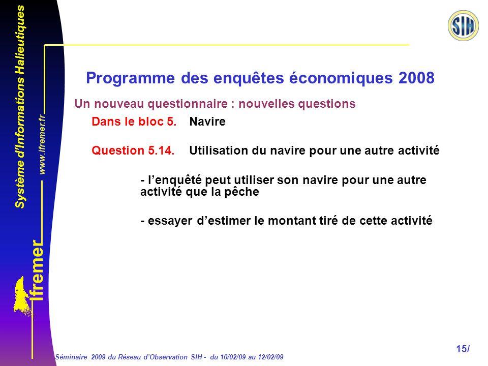Système dInformations Halieutiques Séminaire 2009 du Réseau dObservation SIH - du 10/02/09 au 12/02/09 15/ Programme des enquêtes économiques 2008 Dans le bloc 5.
